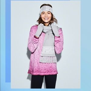 VS Pink knit headband and gloves